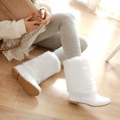 Sweet Womens Hidden Heels Shoes Pull On Warm Faux Fur Furry Snow Flats Boots #New #FashionMidCalf