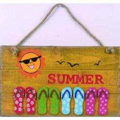 summer signs | Handpainted Wooden Summer Flip Flop Sign: Home & Kitchen