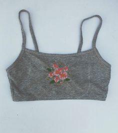 Grey Floral Embroidered Bralette Grey Flower Sports Bra