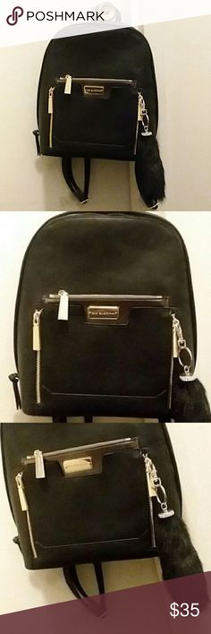 Black Faux Leather purse backpack bookbag Women s Brand New mini Handbag  with Tags still attached bb4f1ff4ecf76