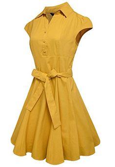 Anni Coco® Women's 1950s Cap Sleeve Rockabilly Swing Vintage Party Shirt Dresses  http://www.artydress.com/anni-coco-womens-1950s-cap-sleeve-rockabilly-swing-vintage-party-shirt-dresses/