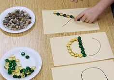 Fine Motor: Outlining Letters with Stones- could also use with sight words, numbers, etc. Alphabet Activities, Literacy Activities, Activities For Kids, Activity Ideas, Kindergarten Literacy, Early Literacy, Learning Letters, Kids Learning, Formation Montessori