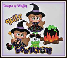 elite4u halloween witch paper piecing premade scrapbook page album wolffey5