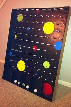 """Plinko Board, Kid's Party Game!  Use Top Of Appliance Box.  3"""" Screws, Black Spray Paint, Ping Pong Balls, Star In Winning Slot."""