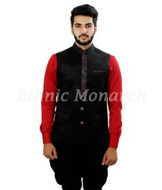 Black Nehru Jacket With Colorful Front Lapel Front view