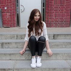 Annesfashionlove . -  - WHITE BLOUSE + BLACK BIKER PANTS + ADIDAS SUPERSTARS