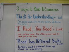 3 ways to Read to Someone Daily Five Cafe, Daily 5, Partner Reading, Guided Reading, Third Grade Reading, Second Grade, Kindergarten Teachers, New Teachers, Future Classroom