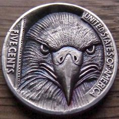 PAUL HOLBRECHT HOBO NICKEL - AMERICAN BALD EAGLE - BUFFALO NICKEL REVERSE CARVING Hobo Nickel, Coin Art, Engraved Jewelry, Silver Coins, Metal Art, Art Forms, Bald Eagle, Sculpture Art, Dog Tags