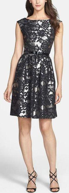 Eliza J Metallic Fit & Flare Dress