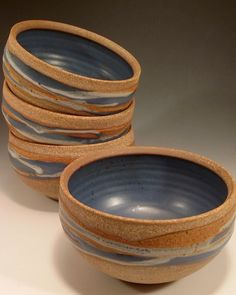 Handmade pottery bowls for soup, cereal or salad in blue - D11