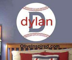 Baseball Decor | Baseball-Sports-Theme-PERSONALIZED-Vinyl-Wall-Decal-Art-Nursery-Decor ...