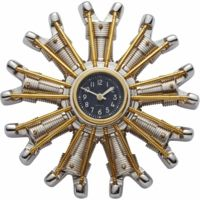 Radial Engine Clock by Pendulux WCPOWAL - With a dial copied from a World War II aircraft gauge, it stands firm in aluminum and brass and features authentic hands. - time Pendulux Powerplant - Pilot Supplies at a Pilot Shop Wall Clock Brass, Best Wall Clocks, Aviation Furniture, Aviation Decor, Airplane Gifts, Airplane Decor, Power To Weight Ratio, Charles Lindbergh, New York To Paris