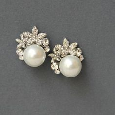 Simple pearl and stone studs #earrings #accessories