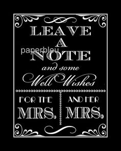 Weddings Leave a Note For Mrs. & Mrs. Table by paperbleudigitals, $5.00