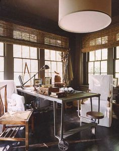 Friday Favorites: Serene Workspaces. We all require a place where we can sit down and focus, whether the matter in need of attention is a creative exercise or a tedious to-do list, and to us, the ideal space is exemplified by the above workspace by Atlanta's MCALPINE BOOTH & FERRIER: serene, semi-secluded, and stimulating.