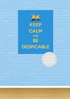 KEEP CALM MINION Despicable Me Printable 8x10 by ColourMyRoom