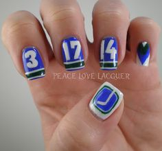 Vancouver Canucks Nail Art For My Anniversary Sports Nail Art, Hair Line Up, Weave Hairstyles, Sporty Hairstyles, Herringbone Braid, Sport Hair, Hair Setting, Vancouver Canucks, How To Start Knitting
