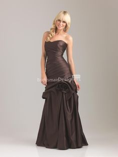 6a4e8a7453 exclusive chocolate sweetheart sleeveless long drop waist pick-up ruched  satin prom bridesmaid dress Brown