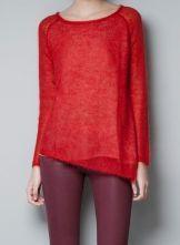 Red Long Sleeve Asymmetrical Lap Pullover Sweater $28.39 #SheInside
