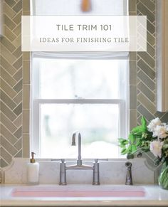 Tile Trim 101 by Mercury Mosaics Layout Design, Tile Design, Tile Around Window, Beveled Subway Tile, Tile Edge, Tile Trim, Stone Backsplash, Shower Niche, Herringbone Backsplash