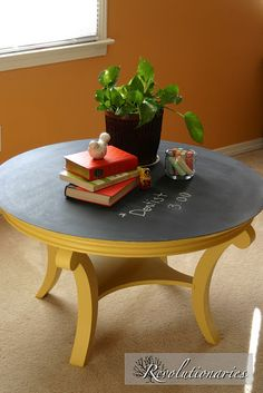 Chalkboard table. Imagine doing math on that! Forget scrap paper!! So doing this for my children's schoolroom.