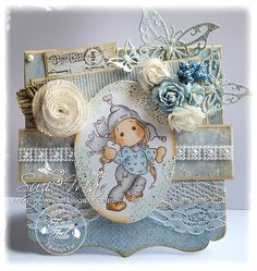 Christmas card in hues of Blue, Tilda from http://www.magnoliastamps.us/ #cards #crafts  More info at http://wwwsuzies.blogspot.co.uk