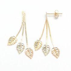 14k Gold Tri-Tone Leaf Drop Earrings