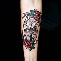 Traditional Surrealistic Heart Tattoo by Matteo Nangeroni
