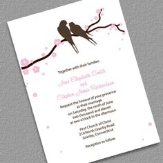 Lovebirds and Cherry Blossoms Free Invitation