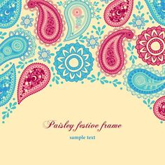 Set of floral Paisley elements frame vector 03