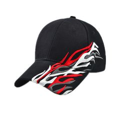 Cool flame embroidered baseball cap for men white sports baseball caps