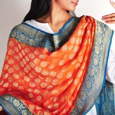 Orange & Blue Banaras Silk Dupatta