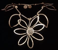 Necklace | Alexander Calder.  'Flower'.  Brass wire.  ca. 1938