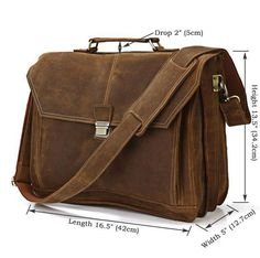 Image of Handmade Leather Messenger Bag Laptop Bag Business Bag For Men Men's Leather Briefcase