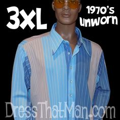 70's XXXL Mens Shirts BRAND NEW and UNWORN Vintage from the DISCO ERA