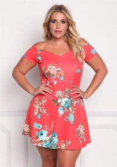 Plus Size Clothing | Plus Size Floral Off Shoulder Flared Dress | Debshops #plussizedressesideas
