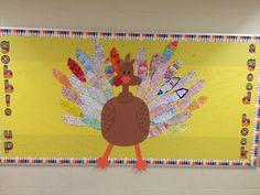 "Third grade turkey bulletin board ""gobble up a good book"""