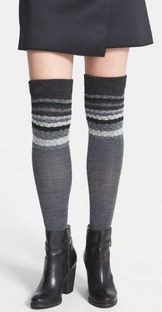 Striped chevron over the knee socks http://rstyle.me/n/mq3mdnyg6