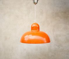 LARGE METAL PENDANT, ceiling light, orange coated 1970's ceiling light, vintage lamp, kitchen lamp, interior lamp, orange lamp, mid century