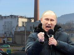 Ruský prezident Vladimír Putin přijel v sobotu 19. ledna do Sušice, aby podpořil výstavbu tolik potřebného Kauflandu. Výstavba je nejenom v zájmu našich německých bratrů, ale  i zájmem naším, hromoval na mítinku, jehož se zúčastnilo pět popletených obyvatel Slučího Tahu. Foto O. Kolář.