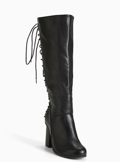 Lace Up Back Heel Boots (Wide Width & Wide Calf), BLACK