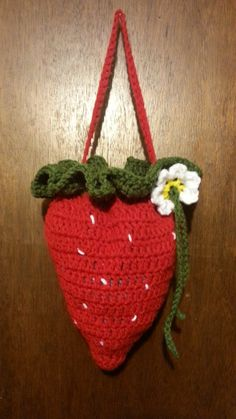 #Crochet Strawberry handbag purse TUTORIAL