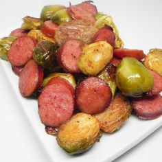 """Roasted Brussels Sprouts and Kielbasa 