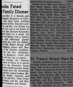 Kluna and Bursik Dinner  in Eugene 1954