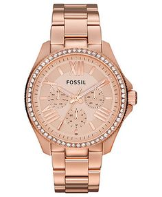 Fossil Watch, Women's Cecile Rose Gold-Tone Stainless Steel Bracelet 40mm AM4483. I NEED this!