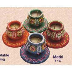 Handmade earthen Matki Diya set of 4 - Redefining Tradition - 157rp  - Online Shopping for Diyas and Lights by Muhenera