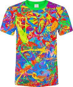 d447d510 Elephant Pegion Splash Paint Island Tree Horse TIme Watch Fantasy  Blacklight UV Neon Fluorescent T-Shirt