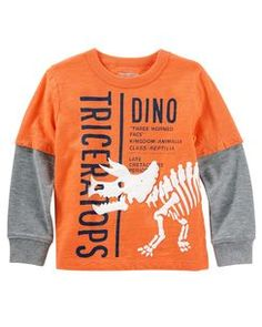 Toddler Boy Layered-Look Glow-in-the-Dark Graphic Tee from OshKosh B'gosh. Shop clothing & accessories from a trusted name in kids, toddlers, and baby clothes. Baby Boy Tops, Baby Boys, Polo Outfit, Camisa Polo, Boys Pajamas, Baby Kids Clothes, Toddler Fashion, Kids Fashion, Boys Shirts