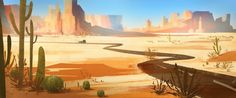Desert Road - Digital painting by Elaine Wu (TeeterTotter on deviantART) Desert Environment, Environment Concept Art, Environment Design, Landscape Drawings, Landscape Art, Landscape Paintings, Desert Landscape, Desert Road, Desert Art