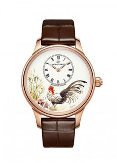 Petite Heure Minute Rooster | Ivory Grand Feu enamel dial with miniature painting. 18-karat red gold case. Self-winding mechanical movement. Power reserve of 68 hours. Diameter 39 mm. Numerus Clausus of 28.